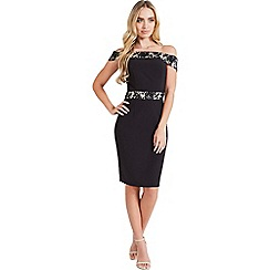 Paper Dolls - Black contrast lace bardot dress