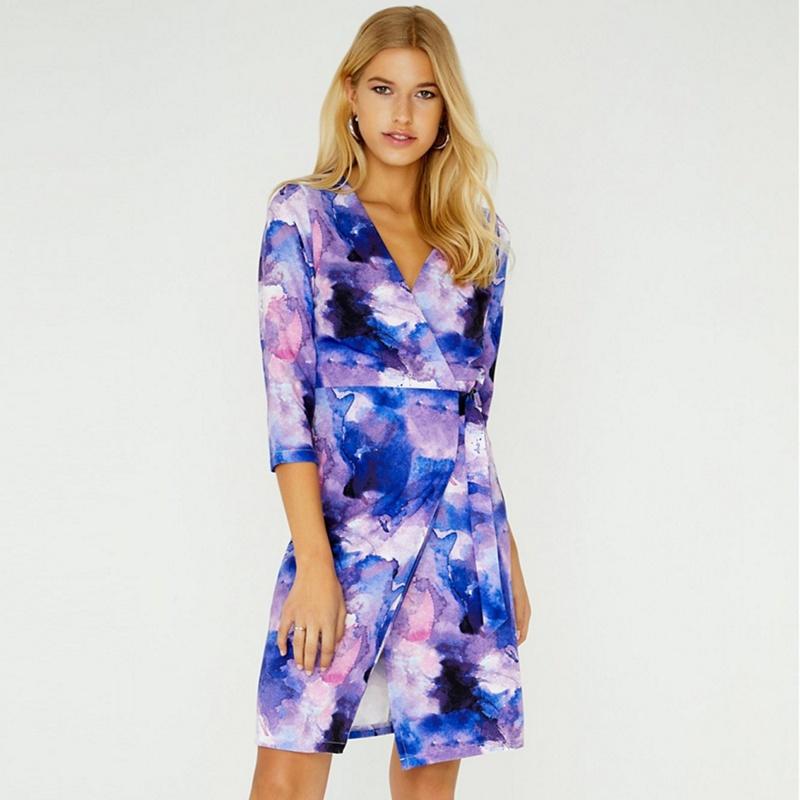 Paper Dolls Blue Nord Watercolour Wrap Dress - 6 - Women's - Dresses (P5057990123061) photo