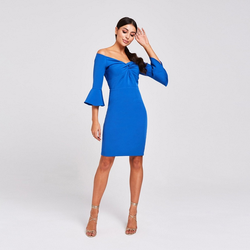 Paper Dolls Blue Valley Cobalt Knotted Off The Shoulder Dress - 8 - Women's - Dresses (P5057990123191) photo