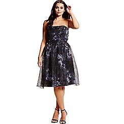 Little Mistress - Black and white organza prom dress