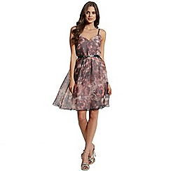 Little Mistress - Floral print strappy prom dress