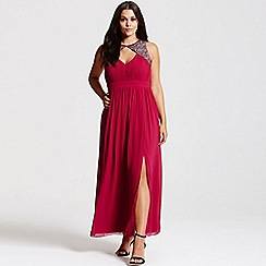 Little Mistress - Berry maxi dress with silver embellishment