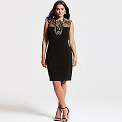 Little Mistress - Curvy black and gold appliqu shift dress