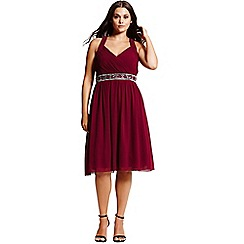 Little Mistress - Red gathered crossover dress