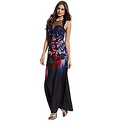 Little Mistress - Petite floral placement print maxi dress
