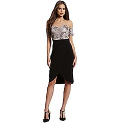 Little Mistress - Black and mink bardot embellished dress