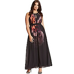Little Mistress - Floral placement print maxi dress