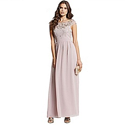 Little Mistress - Mink and gold embellished maxi dress
