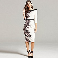 Little Mistress - Black and nude rose print bodycon dress