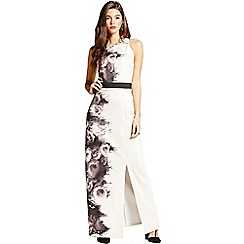 Little Mistress - Black and nude rose print maxi dress