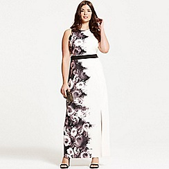 Little Mistress - Curvy black and nude rose print maxi dress