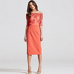 Little Mistress - Coral lace bardot midi dress
