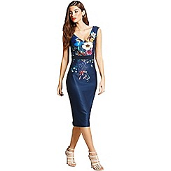 Little Mistress - Navy floral print wiggle dress