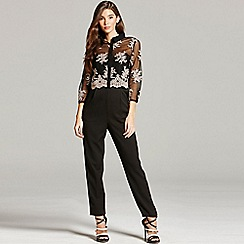 Little Mistress - Black and caramel embroidered jumpsuit