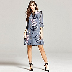 Little Mistress - Grey floral print and lace tunic dress