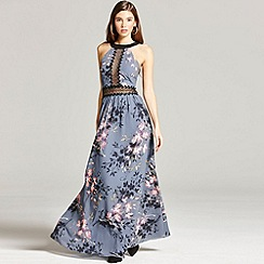 Little Mistress - Floral print and lace maxi dress