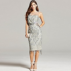 Little Mistress - Grey lace bodycon dress