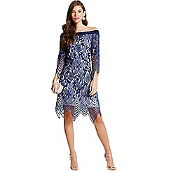 Little Mistress - Navy lace bardot tunic dress