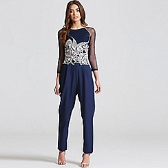 Little Mistress - Navy embroidered sheer jumpsuit