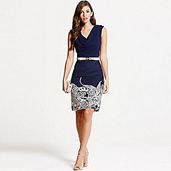 Little Mistress - Navy embroidered cowl neck bodycon dress