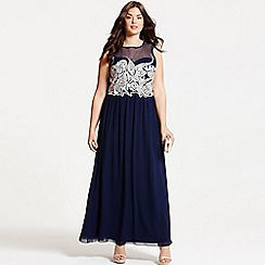 Little Mistress - Curvy navy embroidered maxi dress