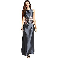 Little Mistress - Grey jacquard print column maxi dress