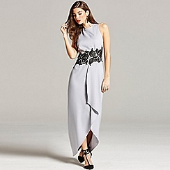 Girls On Film - Grey and black lace overlay maxi dress