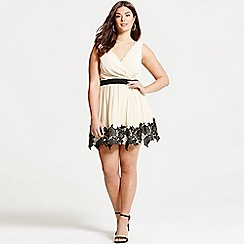 Little Mistress - Cream and black lace border mini dress