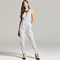Little Mistress - Grey embellished neck jumpsuit