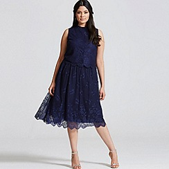 Little Mistress - Navy lace scallop hem skirt