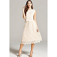 Little Mistress - Nude lace scallop hem skirt