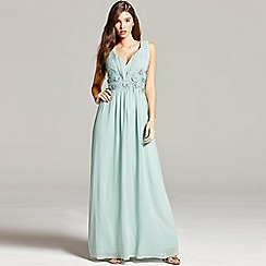 Little Mistress - Sage lace waist maxi dress