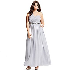 Little Mistress - Curvy grey one shoulder embellished maxi dress