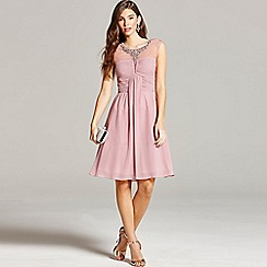 Little Mistress - Dusty pink embellished and drape front prom dress
