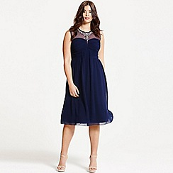 Little Mistress - Curvy navy embellished and drape front midi dress