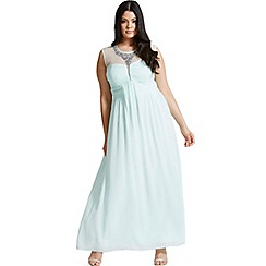 Little Mistress - Curvy seafoam embellished and drape front maxi dress