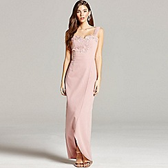 Little Mistress - Dusty pink embroidery and wrap front maxi dress