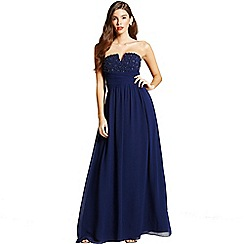 Little Mistress - Navy embellished bandeau maxi dress