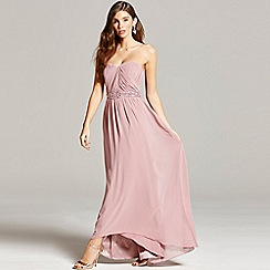 Little Mistress - Dusty pink pleated bandeau maxi dress