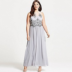 Little Mistress - Curvy grey embroidered mesh maxi dress