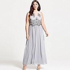 Little Mistress - Curvy grey embroidered mesh maxi dress