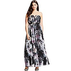 Little Mistress - Dark rose print bandeau maxi dress