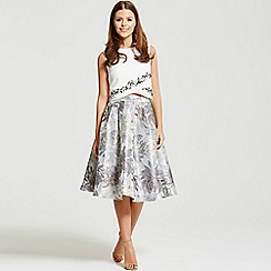 Little Mistress - By Chloe Lewis silver jacquard a-line skirt