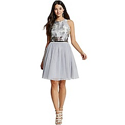 Girls On Film - By Chloe Lewis silver jacquard dipped hem mesh dress