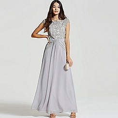Little Mistress - Grey crochet lace drape front maxi dress