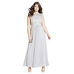 Little Mistress - Grey crochet lace drape front maxi dress