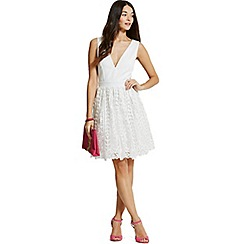 Little Mistress - White crochet lace plunge mini dress