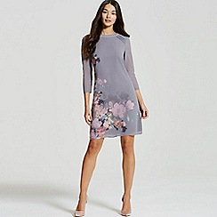 Little Mistress - Grey floral print shift dress