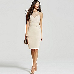 Little Mistress - Beige embellished pleat bodycon midi dress