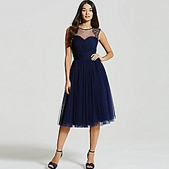 Little Mistress - Navy embellished sheer midi dress